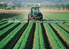 Farmer fertilising field with tractor
